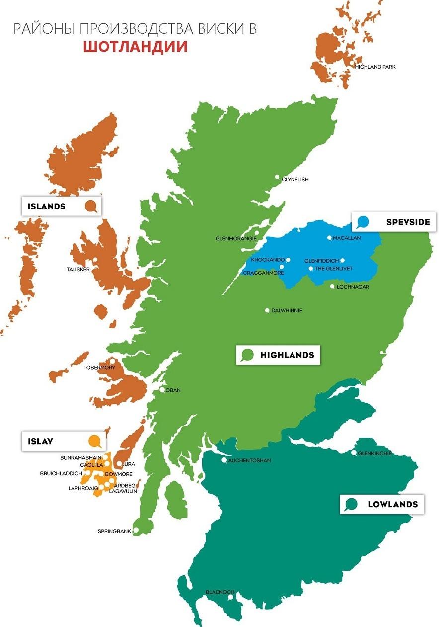 карта производства виски в Шотландии